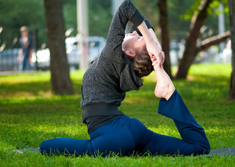 woman doing stretching exercise. Yoga