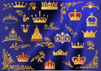 set of gold crowns on blue