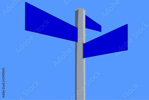 Blank sign on blue sky