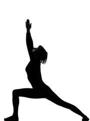 virabhadrasana 1 warrior postion yoga woman