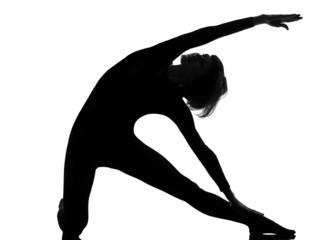 woman parighasana gate pose woman yoga