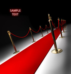 Red carpet isolated on black 3d render