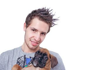 ragazzo con cucciolo di Boxer
