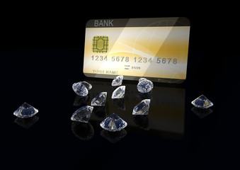 3d credit card with diamonds on black background