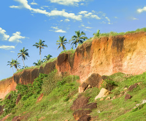 Tropical Cliff in Varkala on Kerala Coastline