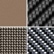Set of various types of Carbon fiber textures. 3d vector