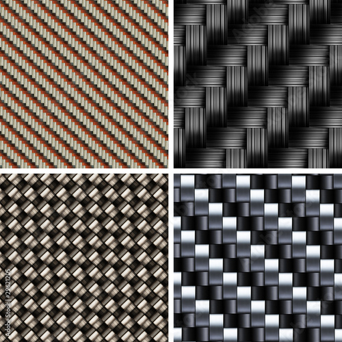Set of various types of Carbon fiber textures. 3d vector