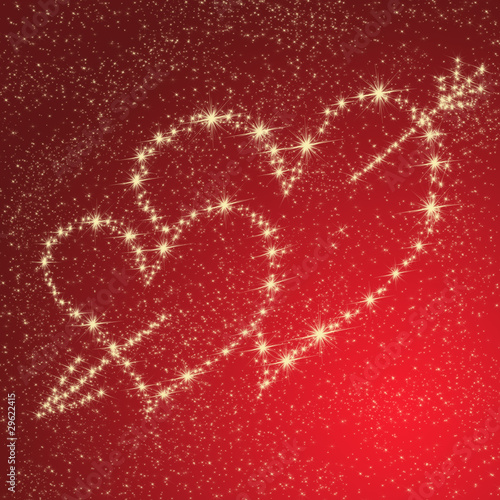 gold stars background. Heart of gold stars on a red