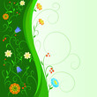 Abstract flowers with floral green stem and pattern