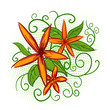 Orange flowers with green leaves and abstract pattern
