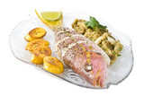 Roasted Yellow Tail Snapper with Eggplant and Plantain poster