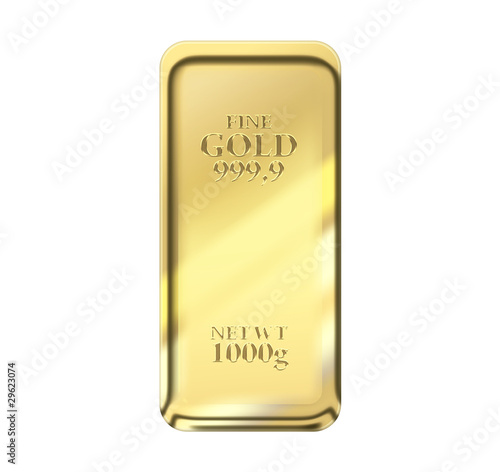 1kg gold bar isolated on a white background with clipping path