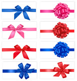 Fototapety Collection of color bows with ribbons. Vector.