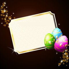 Elegant brown background with gold-decorated Easter eggs