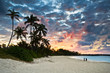 Tropical Caribbean White Sand Beach Paradise at Sunset