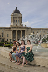 High school grads in party dresses, Winnipeg, Manitoba