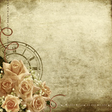 Retro vintage romantic  with roses and clock