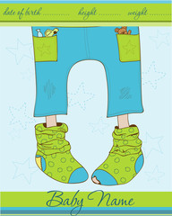 Baby Boy arrival announcement card with funny socks