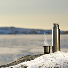 Coffee by the frozen sea