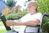 Pensioner watching photos poster