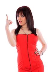 beautiful brunette in red dress