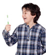 Smiling child with a toothbrush
