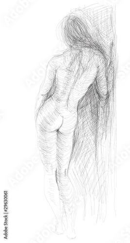 Woman nude silhouettes / realistic sketch (not auto-traced) - 29630061