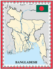 Bangladesh national emblem map coat flag business background