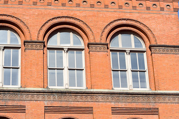 Red Brick Richardsonian Romanesque Building Window
