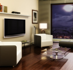 Apartment with a TV (focused)