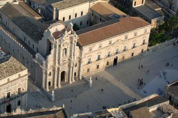 Siracusa, vista aerea, duomo, piazza, Sicilia, Italia