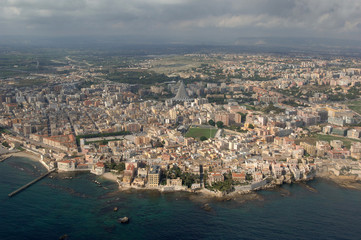 Siracusa, vista aerea, Sicilia, Italia, Europa