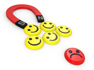 Smiling faces near to a magnet
