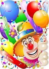 Pagliaccio Palloncini-Maschera-Carnival Clown's Face-Vector