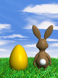 easter bunny next to easter egg in gras