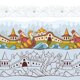 background with fairytale characters poster