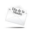 Icono sobre blanco con carta con texto Dia de la Madre