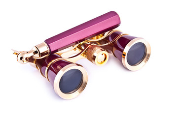 Vintage pink and golden opera glasses