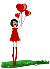 girl holding red balloon