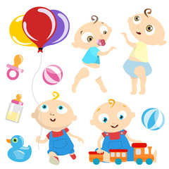 baby with toy vector