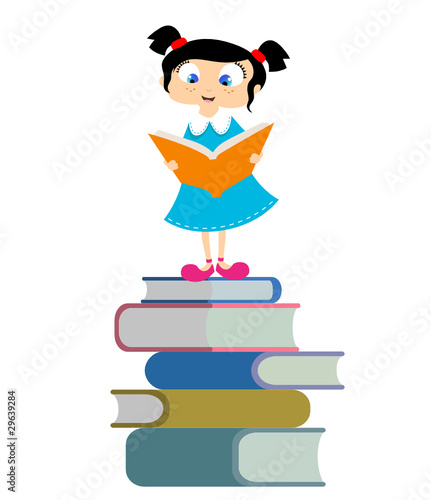 cute student reading book