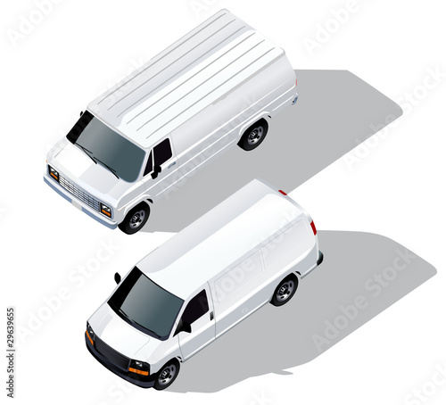 Vector delivery van isometric set