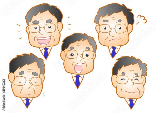 中年のビジネスマン 喜ぶ悲しむ怒る驚く泣く笑う