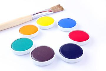 Farbe und Malpinsel