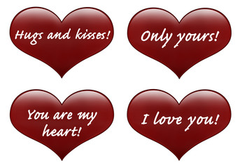 Red hearts isolated on white with love text