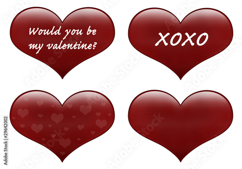 Red hearts isolated on white with pattern and love text