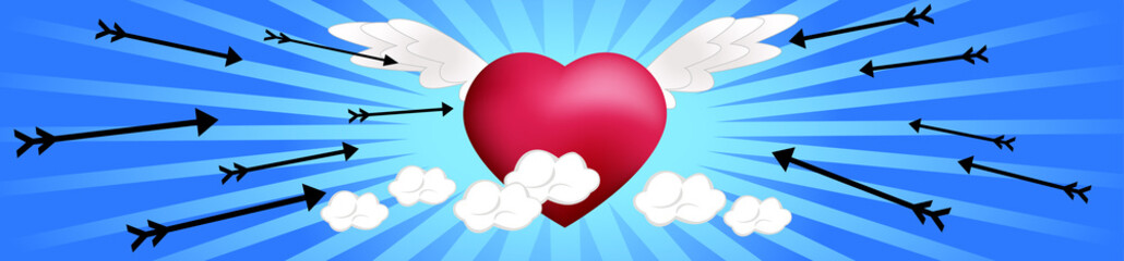Heart on the Clouds with Arrows