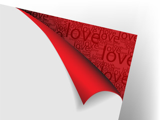 Sheet of paper with flex red corner with text love