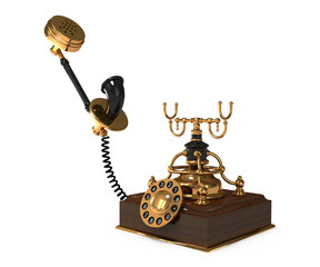 Traditional vintage rotary style telephone on white