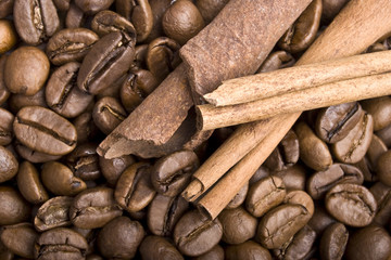 Coffee grains and sticks of cinnamon